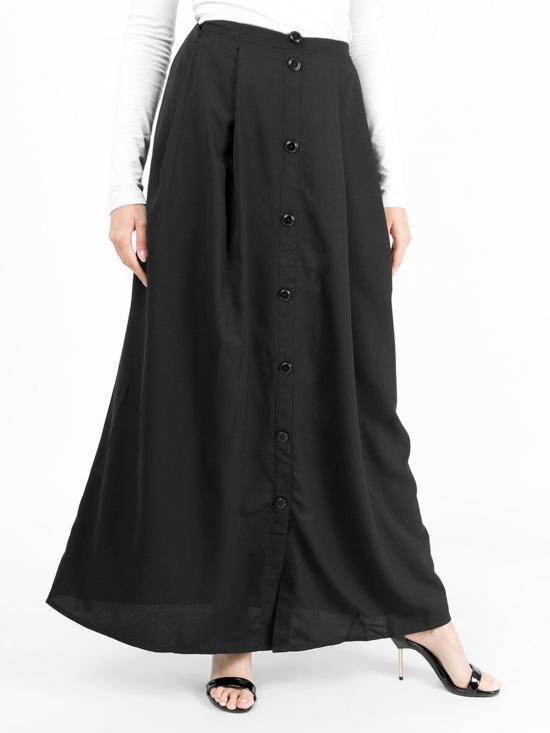 100% Polyster Mock Button Skirt In Black
