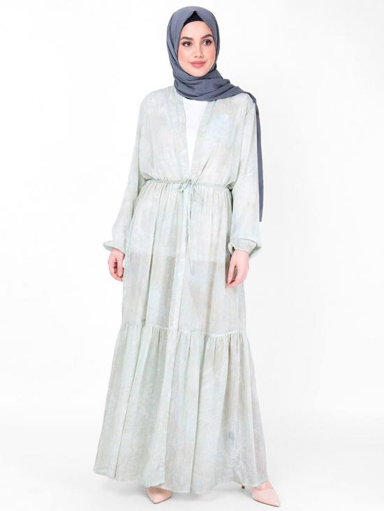 100% Poly Chiffon Outerwear With Gathered And Full Front Open Sheer In Mint