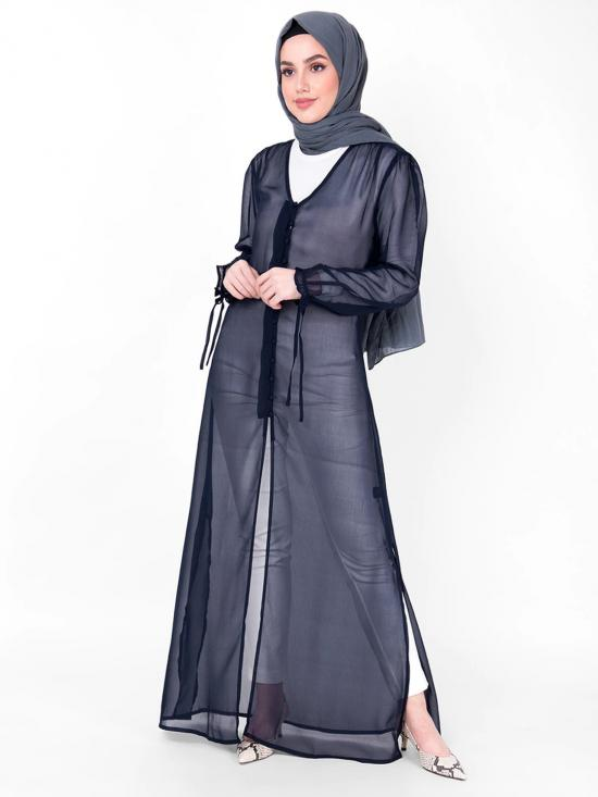 100% Georgette Outerwear With V Neck Sheer In Navy Blue