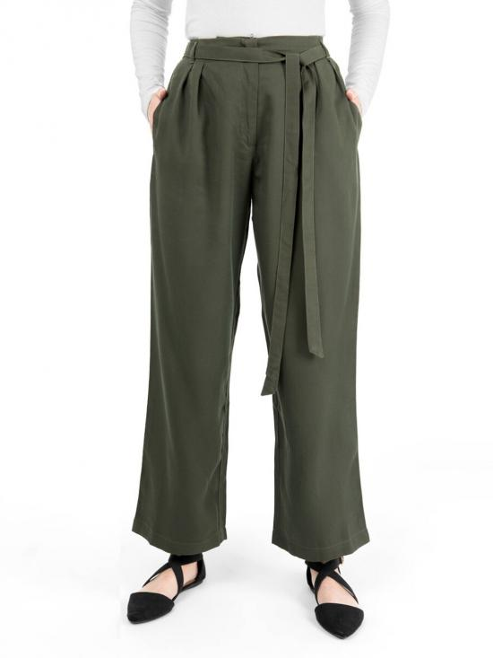 100% Rayon Inverted Double Pleat Trouser In Green
