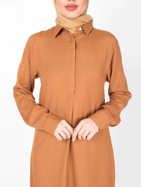 100% Rayon Shirt Midi In Brown