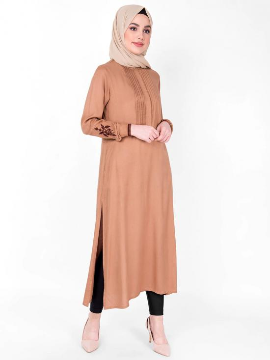 100% Viscose Midi Dress With Embroidery And Pin Tuck In Brown