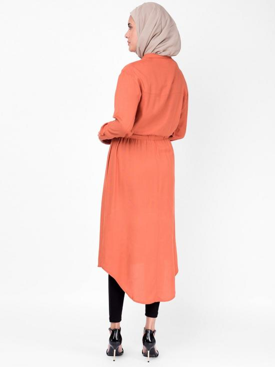 100% Rayon Midi Dress With Neck Band In Rust
