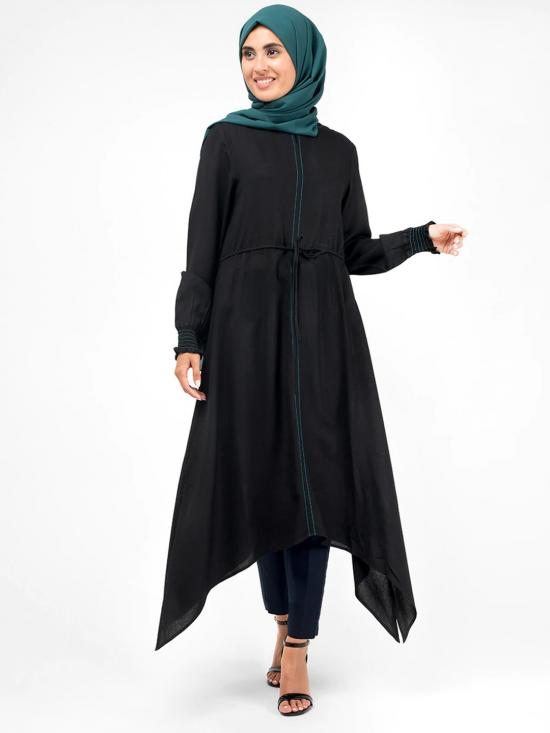 100% Rayon Handkerchief Midi Dress In Black