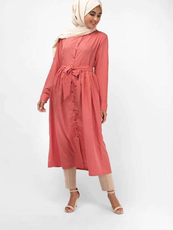100% Polyester Shirt Dress With Gathered In Dusty Rose