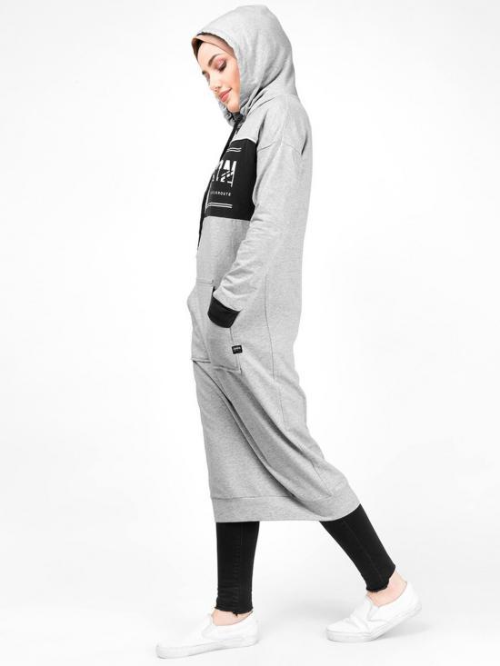 100% Cotton Kangaroo Pocket Hooded Midi In Grey