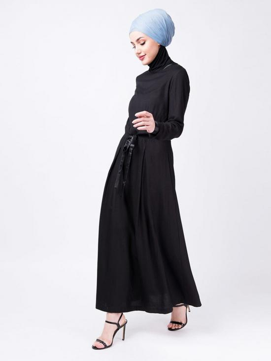 100% Rayon Drawstring Long Top In Black
