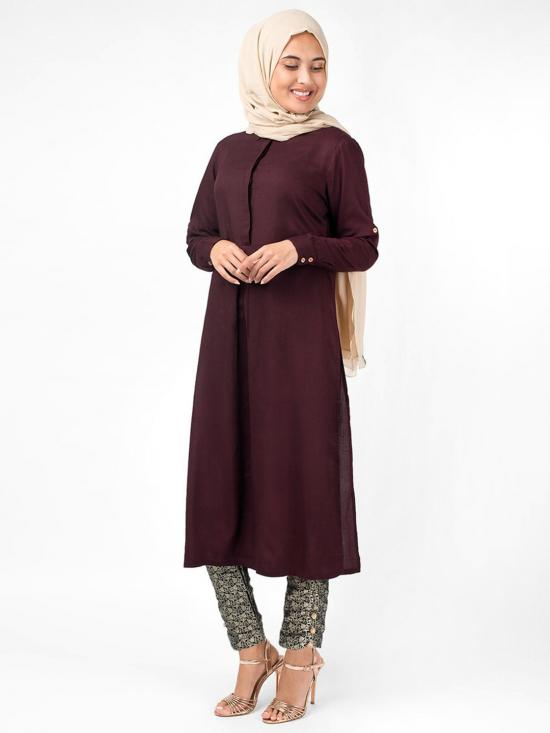 100% Rayon Midi Dress With Long Side Slit Box Pleat In Maroon