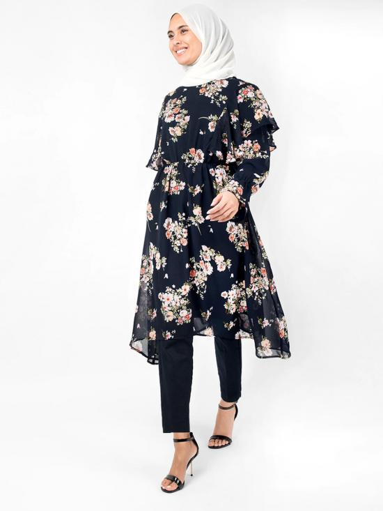 100% Polyester Midi Dress With Floral Handkerchief Boat Neck In Navy