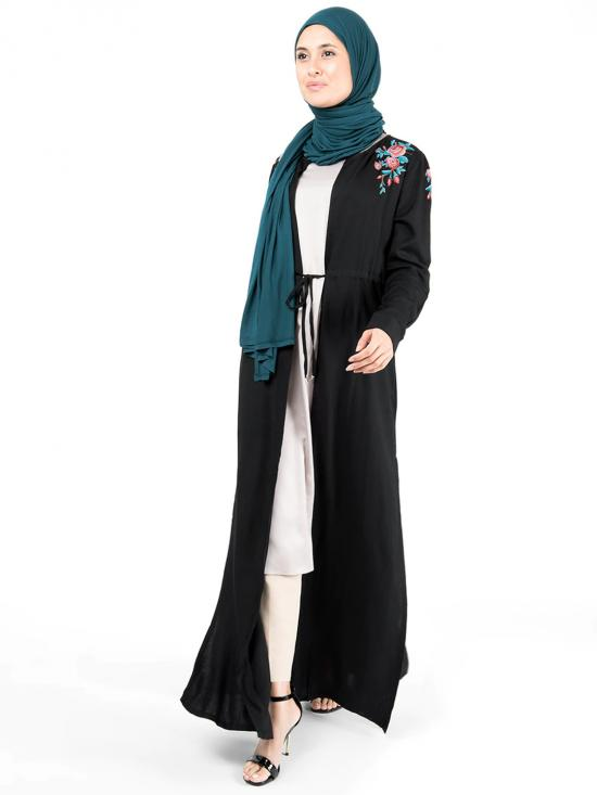 100% Rayon Floral Embroidered Outerwear In Black
