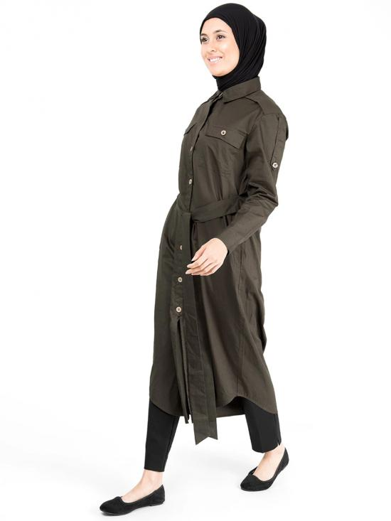 100% Cotton Epaulette Sleeves Curved Hem Midi In Dark Olive