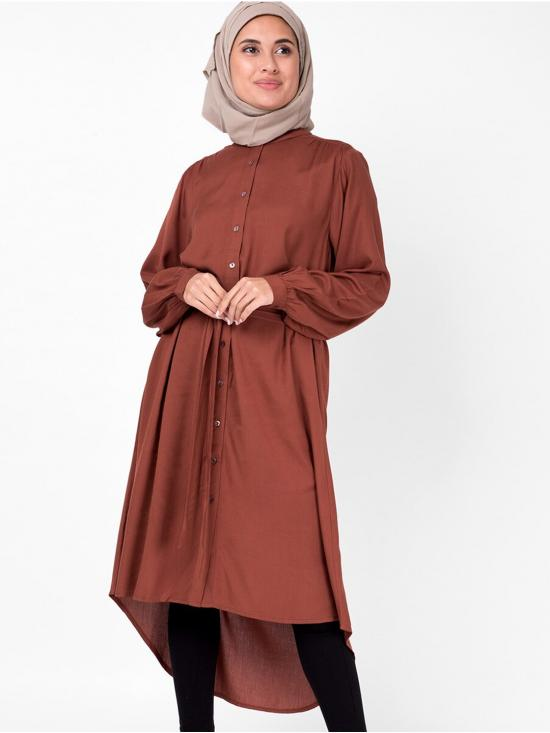 100% Rayon Balloon Sleeve Muted Shirt Dress In Brown