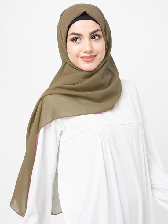 Poly Georgette Scarf In Olive