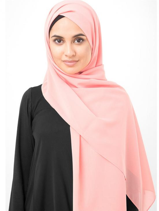 Pale Blush Poly Georgette Scarf In Pink