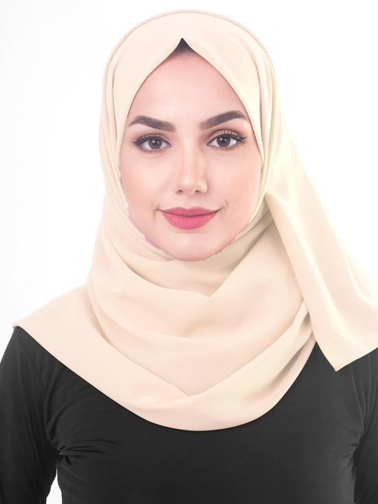 Macadamia Poly Georgette Scarf In Beige