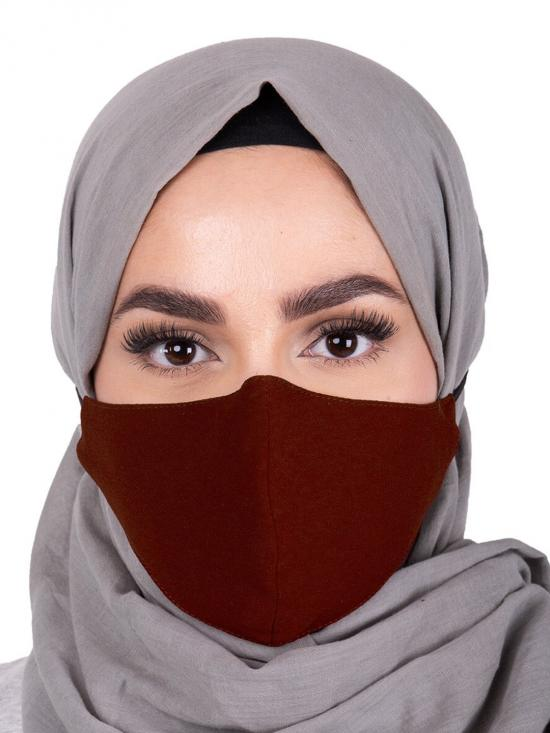Rum Raisin Hijab Friendly Toggle Fabric Mask In Brown