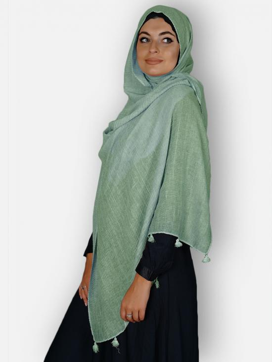 Premium Crinkled Cotton Stoles With Tassel Work In Light green