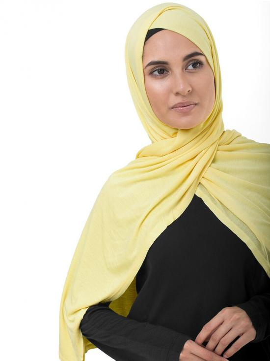 100 % Viscose Jersey Scarf In Goldfinch Yellow