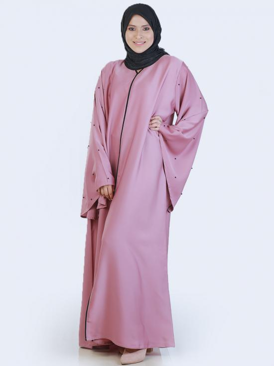 Nida Matte Free Size Abaya With Pearl Work On Sleeve In Puce Pink