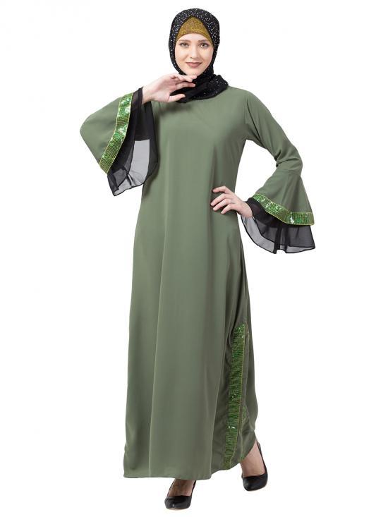 Nida Matte A Line Abaya With Black Sequins Work In Jade Green
