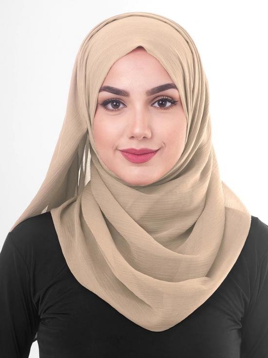 Poly Chiffon Scarf In Nomad Beige