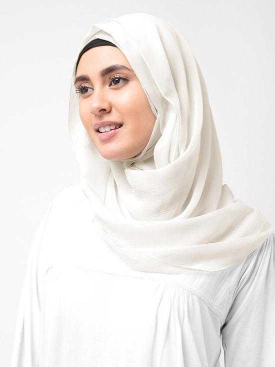 Poly Chiffon Scarf In Bright White