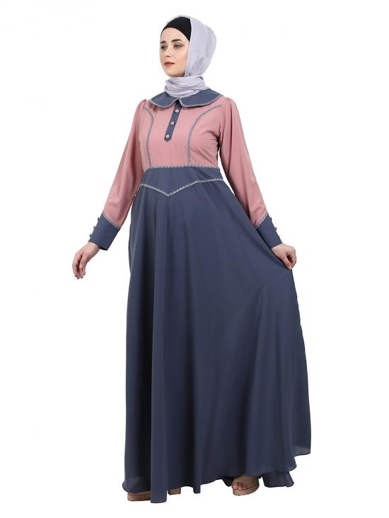 Nida Matte Abaya With Baby Collar In Pink And Grey