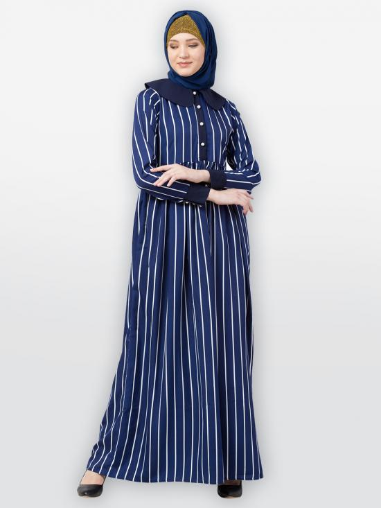 American Crepe Striped Abaya With Baby Collar In Blue And White