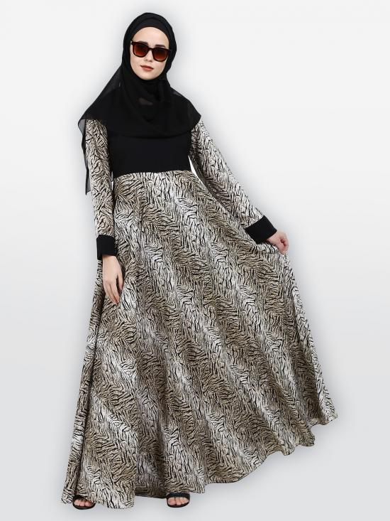 American Crepe Nida Matte Abaya With Animal Print In Multi Color