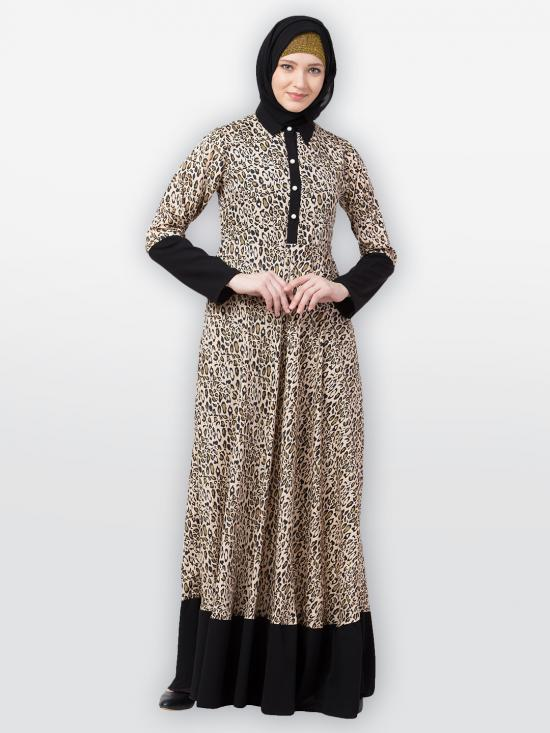 American Crepe Nida Matte Casual Dress With Leopard Print In Beige And Black