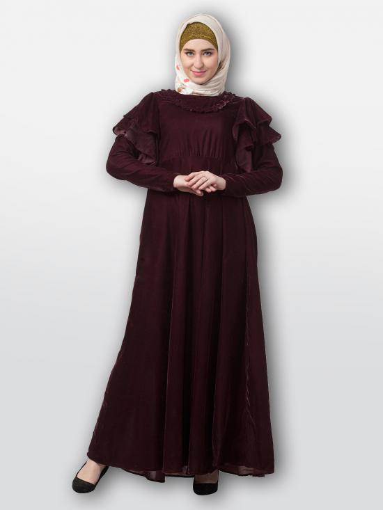 Premium Velvet Designer Bridal Abaya In Maroon