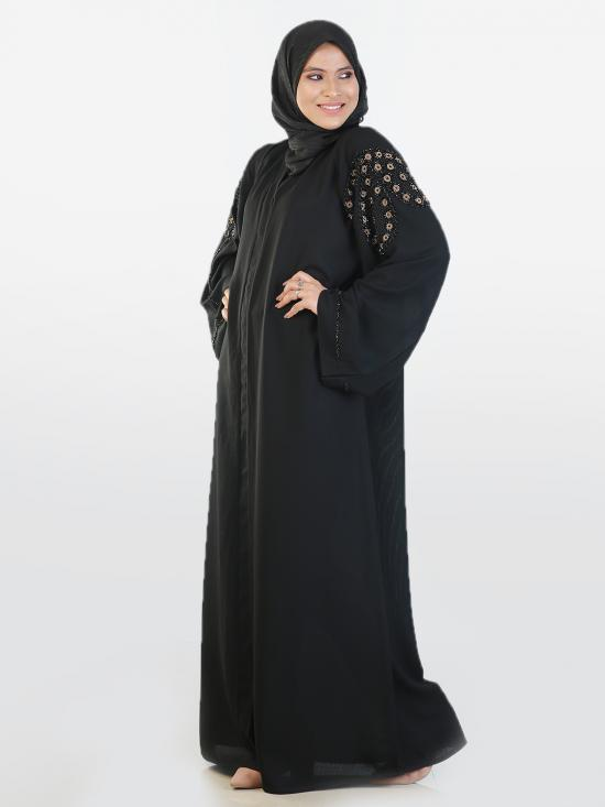 Korean Masha Crepe Free Size Abaya With Balloon Pattern Hand Work On Sleeves In Black