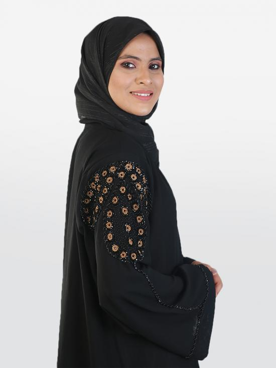 Korean Masha Crepe Free Size Abaya With Balloon Pattern Hand Work On Sleeves In Black