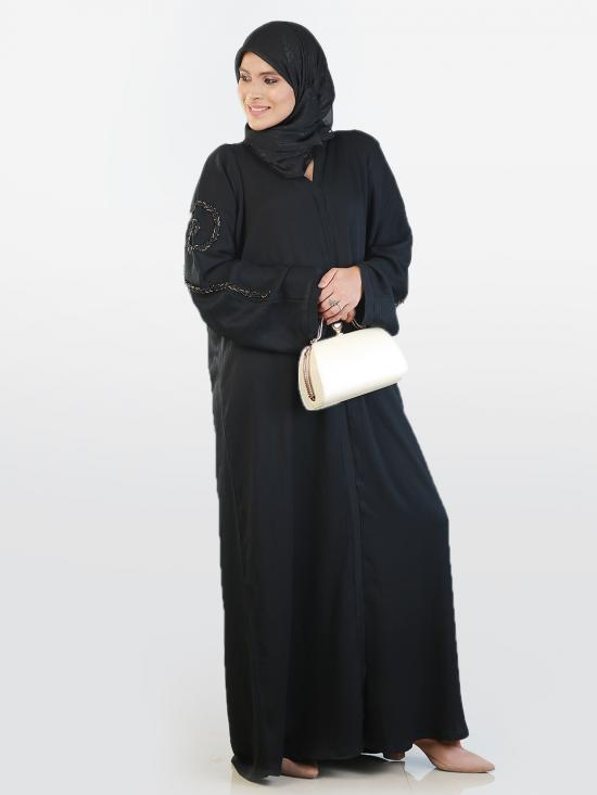 Korean Zoom Simple Free Size Abaya With Crystal Hand Work In Black
