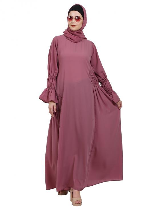 Nida Matte Designer Elegant Abaya In Puce Pink
