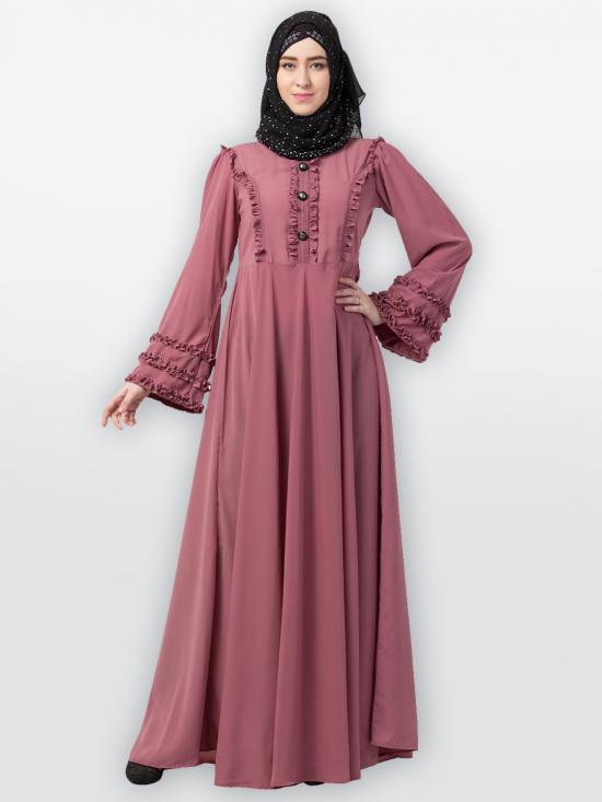 Nida Matte Designer Umbrella Abaya With Frill Work In Puce Pink