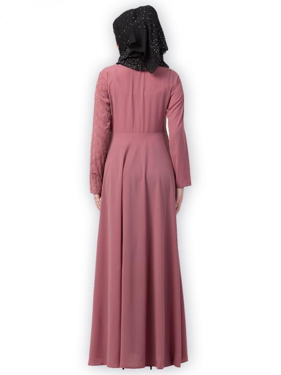 Nida Matte Designer Umbrella Abaya With Pearl Hand Work In Puce Pink