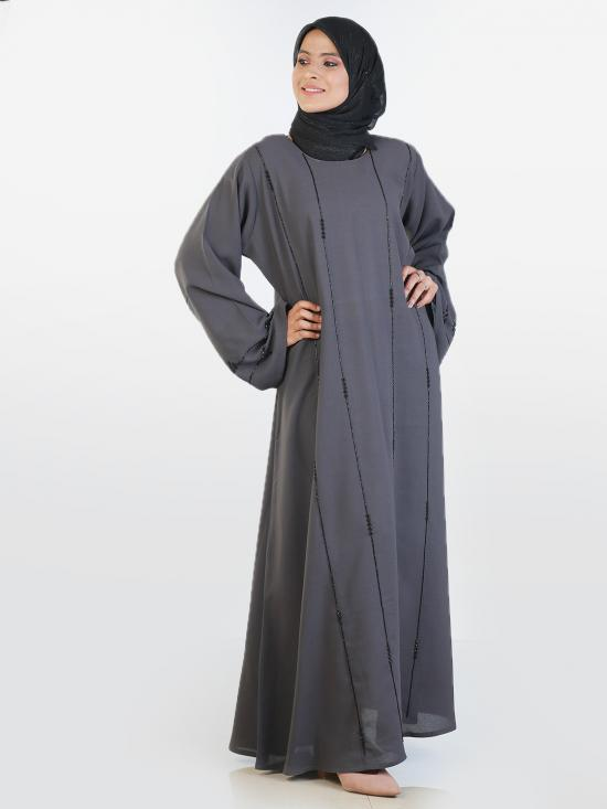 Korean Masha Crepe Simple Free Size Abaya With Black Crystal Hand Work Embroidered In Ash