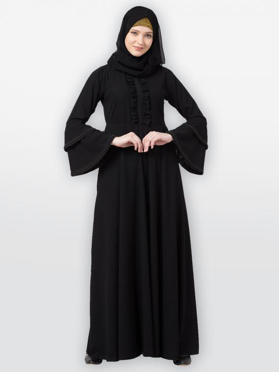 Nida Matte Designer Umbrella Abaya With Frills Work On The Front And Bell Sleeves In Black