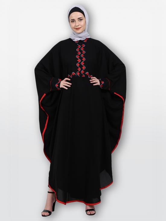 Nida Matte Classic Kaftan With Embroidery Work On Front And Sleeves In Black