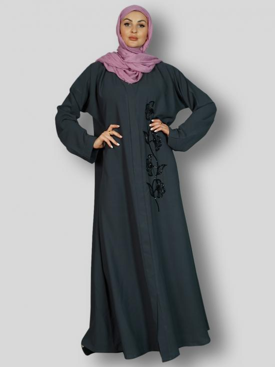 Korean Masha Crepe Simple Free Size Abaya With Crystal Hand Work Embroidered In Ash