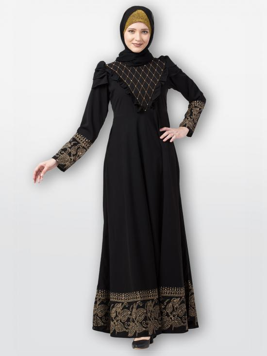 Nida Matte Printed Umbrella Abaya With Handwork On Front In Black
