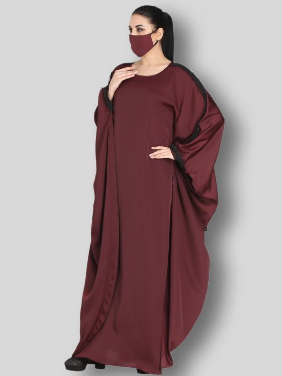 Nida Satin Kaftan With Lacework From Shoulder To Sleeve Cuffs In Maroon
