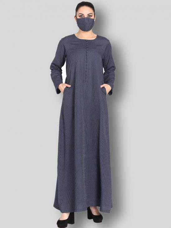 Poly Cotton Modest Dress With Show Buttons On Yoke In Navy Blue