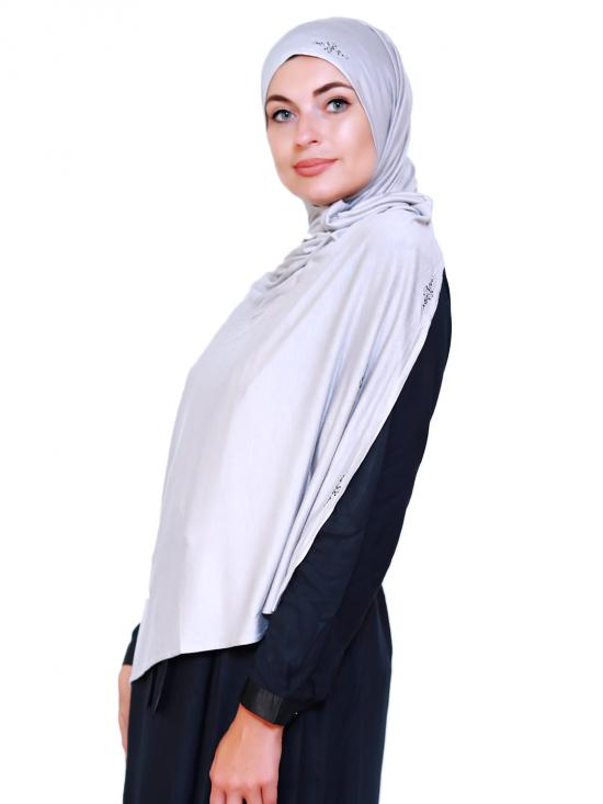 Lycra Plain Stole With Stone Work On Border In Off White