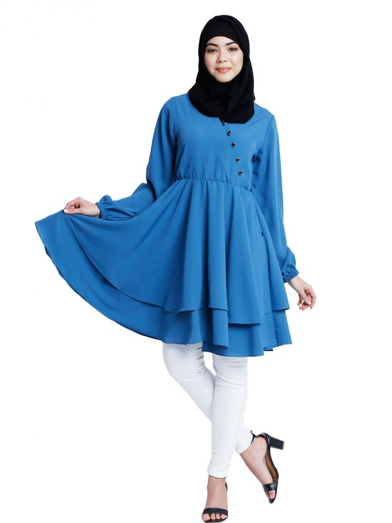 Nida Matte Modest Tunics With Full Sleeves In French Blue