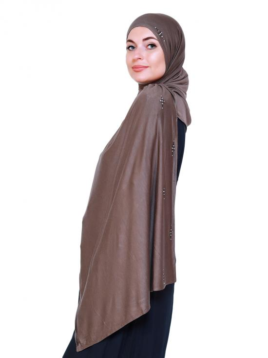 Lycra Plain Stole With Stone Work On Border In Coffee
