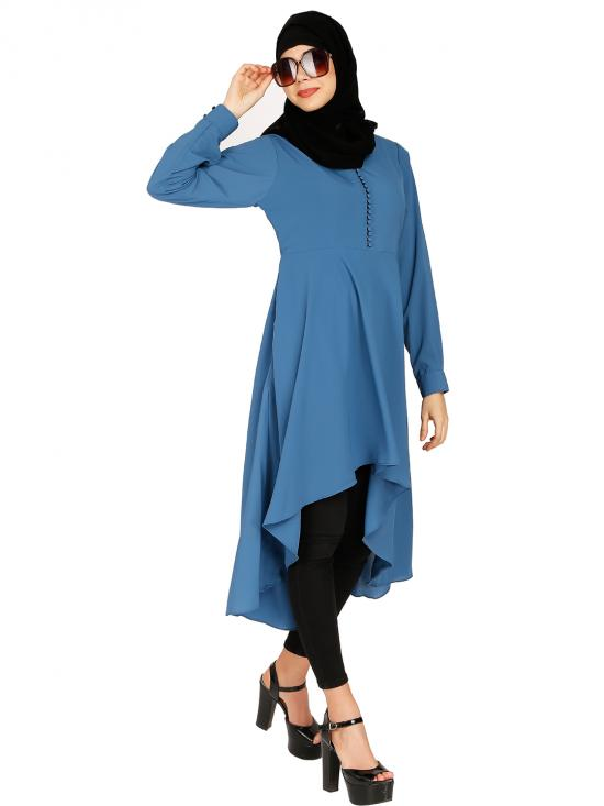 Nida Matte Kurti With Polti Buttons Neck In French Blue