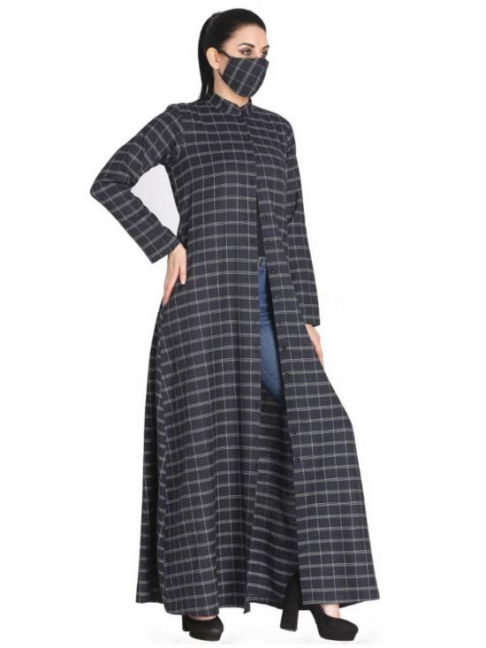 Poly Cotton Front Open Abaya With Side Pockets In Black