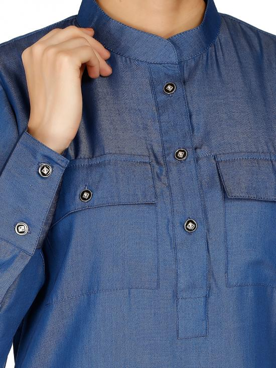 Denim Kurti With Full Sleeves In Denim Blue